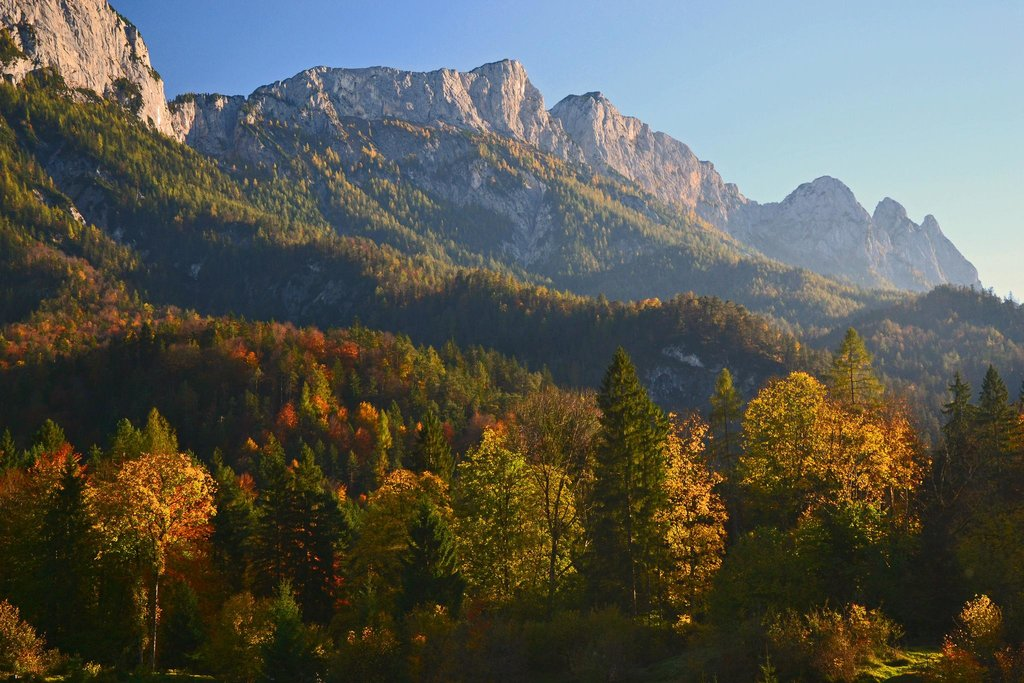 Grosser and Kleiner Weitschartenkopf (1979 m) in the Reiteralpe group in autumn