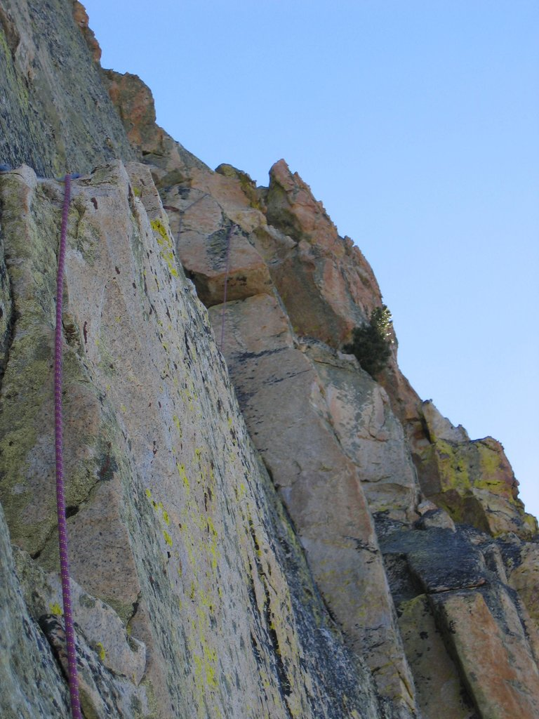 Looking up at pitch 3 from the 2nd belay station