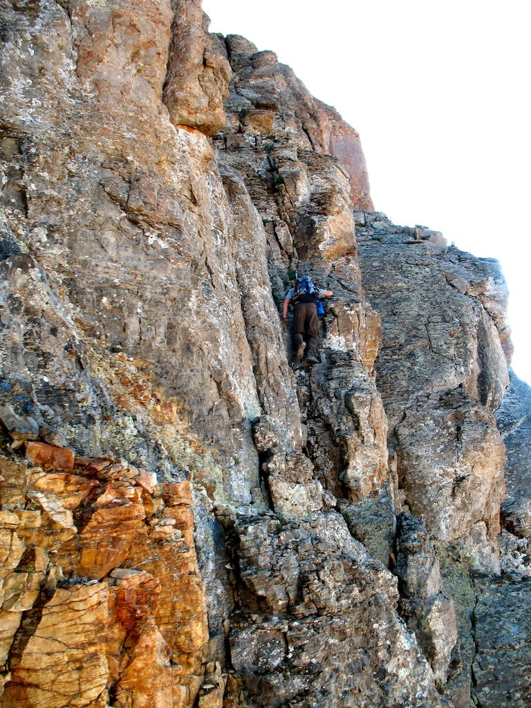 Climber on U.S. Grant's crux pitch