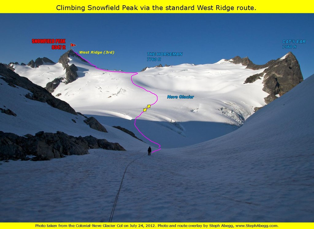 Snowfield Peak route overlay