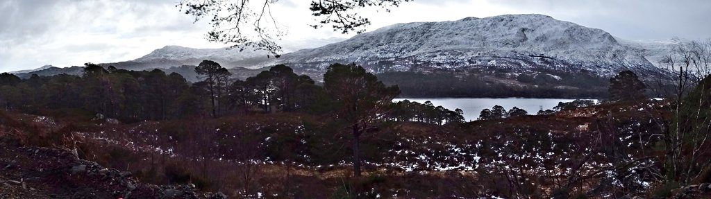 Panoramic view Glen Affric in bad weather