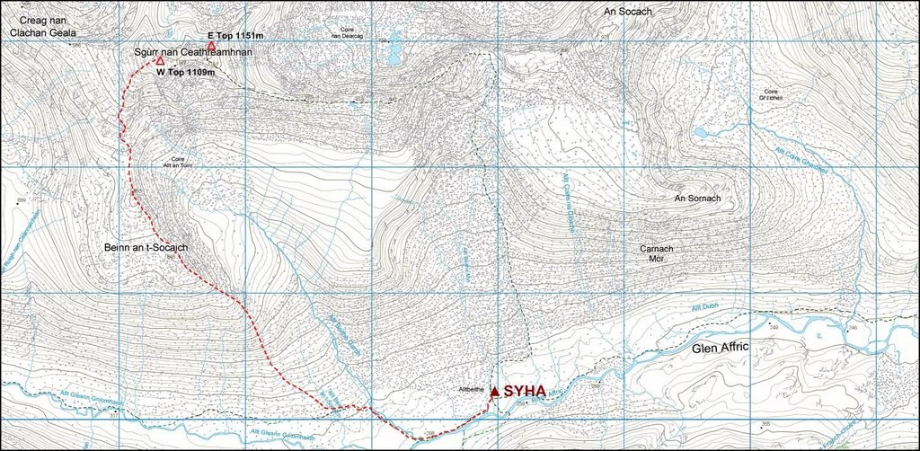OS map showing route from Alltbeithe to western summit of Sgurr nan Ceathreamhnan