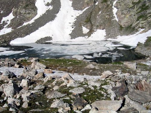 The unnamed frozen lake at...