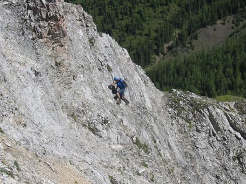 Traversing the crux on Gap...