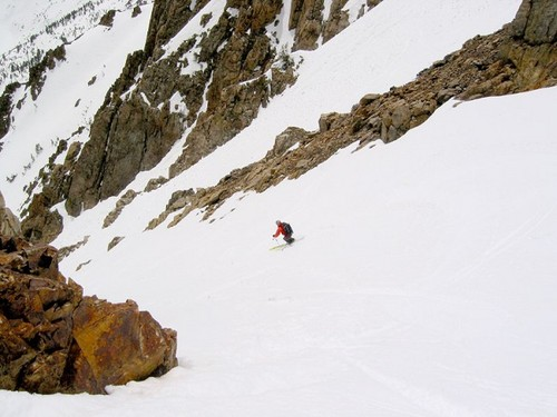 Skiing the south couloir of...