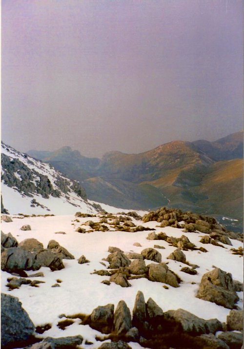 View from Dirfis summit to the Aegean sea-20 March 2004(a year with little snow)
