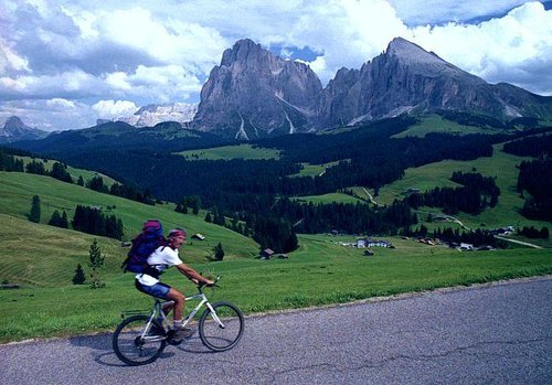 Cycling over Seiser Alm. I am...