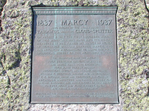 Plaque on Mt Marcy