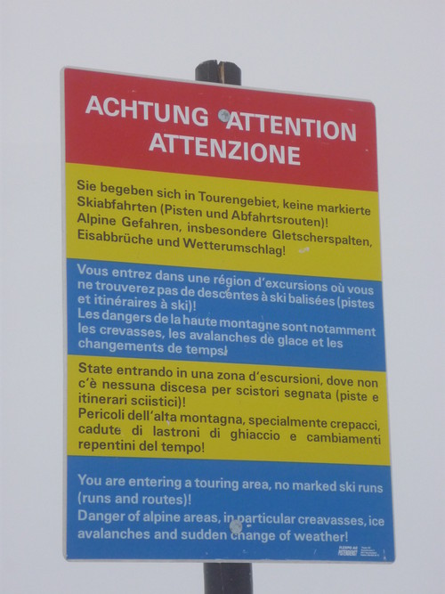 Warning when entering Titlis Glacier