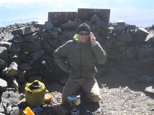 Satellite phone call from White Mountain Peak