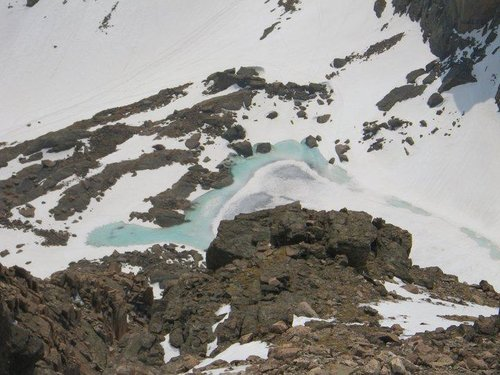 Chasm Lake from the perch above the second ice crx