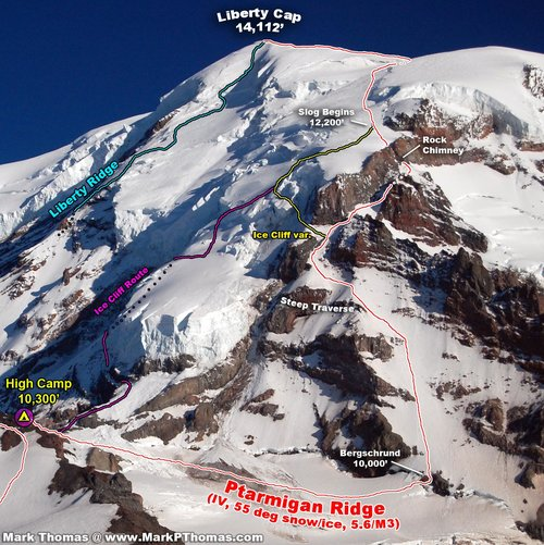 Ptarmigan Ridge & Nearby Routes - Topo