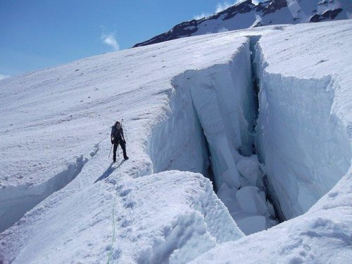 Large crevasse just before the Ridge