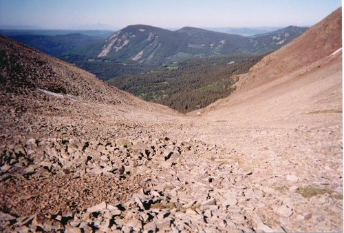Looking down the scree slope...