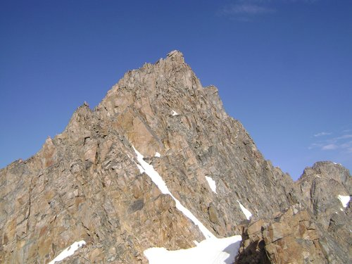 Summit pyramid of Granite Peak seen from the
