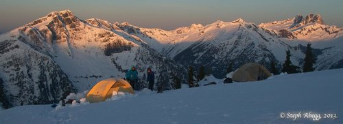 Snow camping on Sourdough Mountain