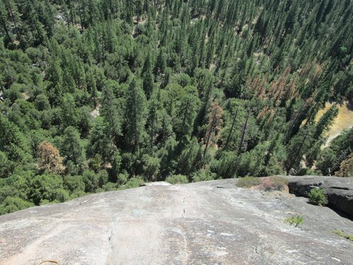 Looking down from the top of pitch 4 on Nutcracker, Manure Pile Buttress, Yosemite National Park
