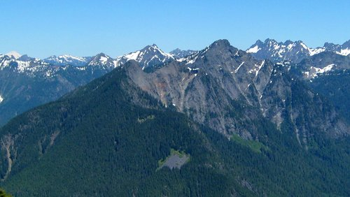 Scott Peak and Hubbart Peak from Spire Mountain
