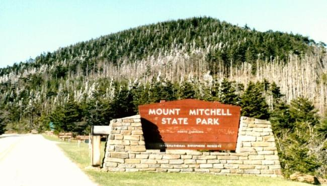 The entance to Mt. Mitchell...