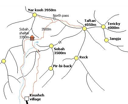 Schematic map of Khash heights
