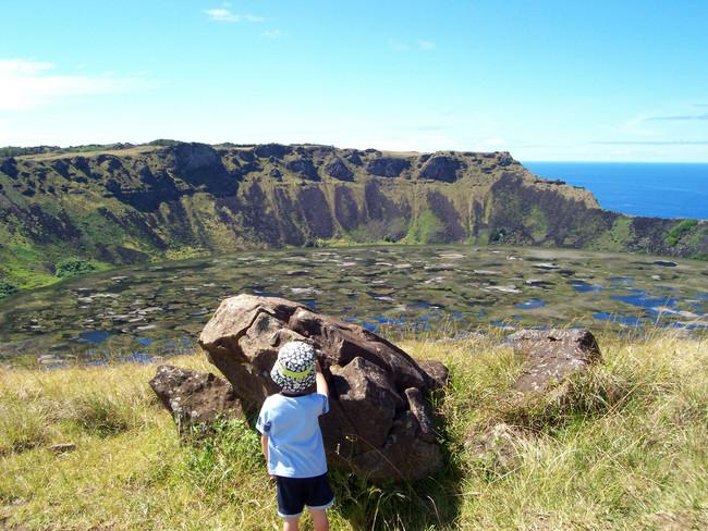 The crater lake of Rano Kau...