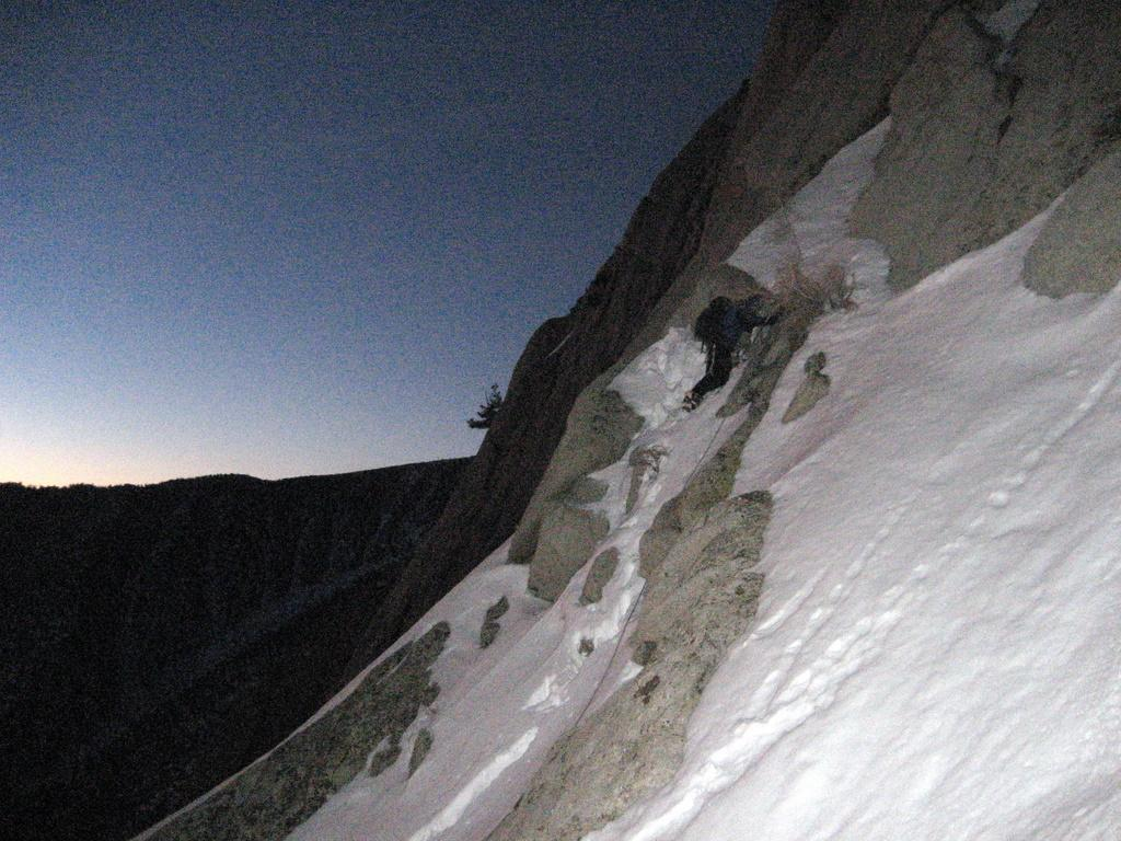 Charles at a belay on the lower part of the Winter Chimney