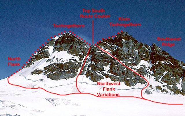 Tschingelhorn routes, from the NW