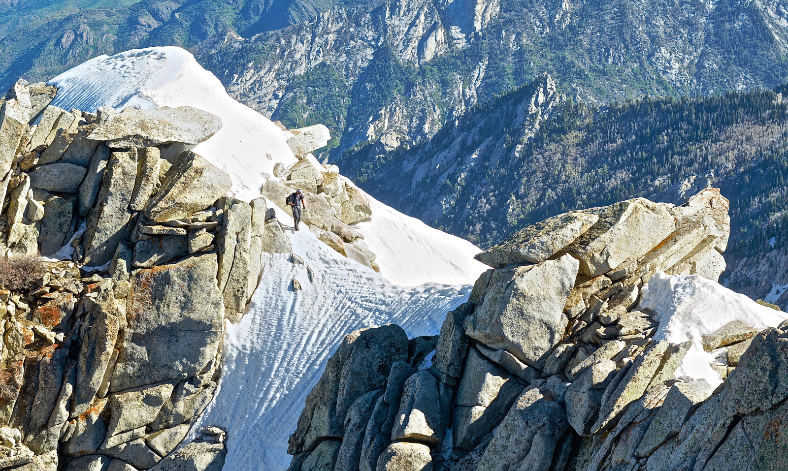 Heading out over the crux, Lone Peak summit ridge.