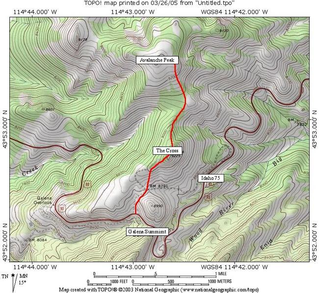 The route for Avalanche Peak...