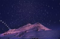Night over Elbrus. North derection... Moon movement down...